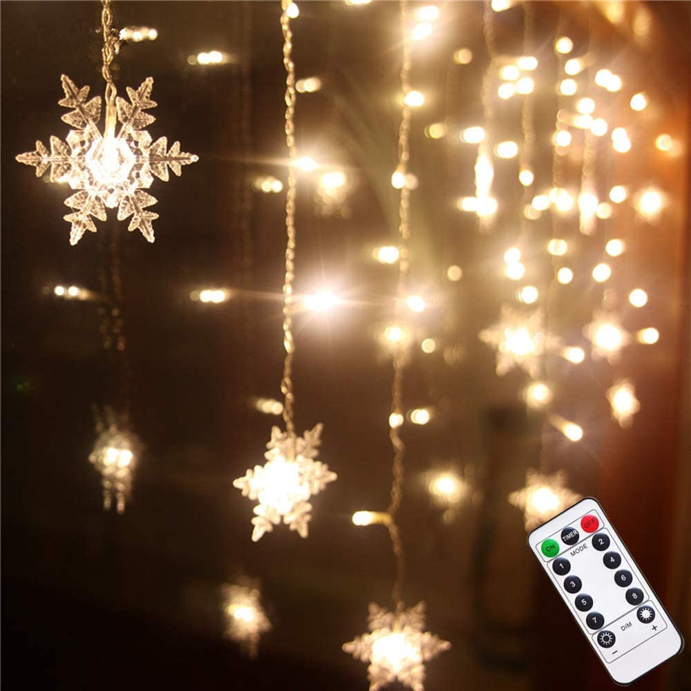 Senofun Christmas Warm White Snowflake Curtain Light Home Party Decoration Fairy Lights 16Snowflake 80Mini LED 9.85ft Light Color Chaging String Lights for Holiday Decor (Battery Operated)