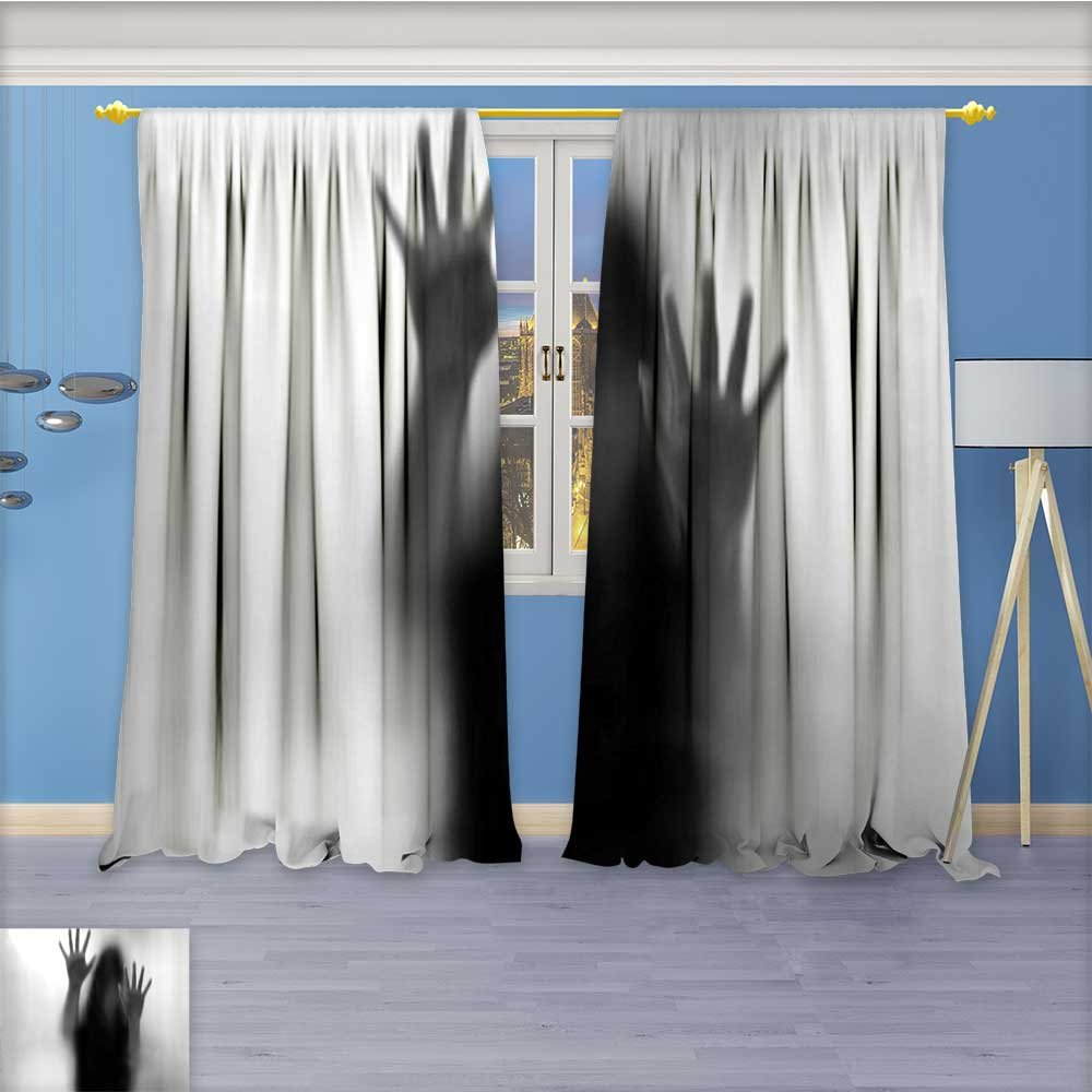 Print Woven Sateen Window Curtain,Silhouette of Woman behind the Veil Scared to Death Obscured Paranormal Gray Panel Pair with Grommet Top, 72W x 96L Inch