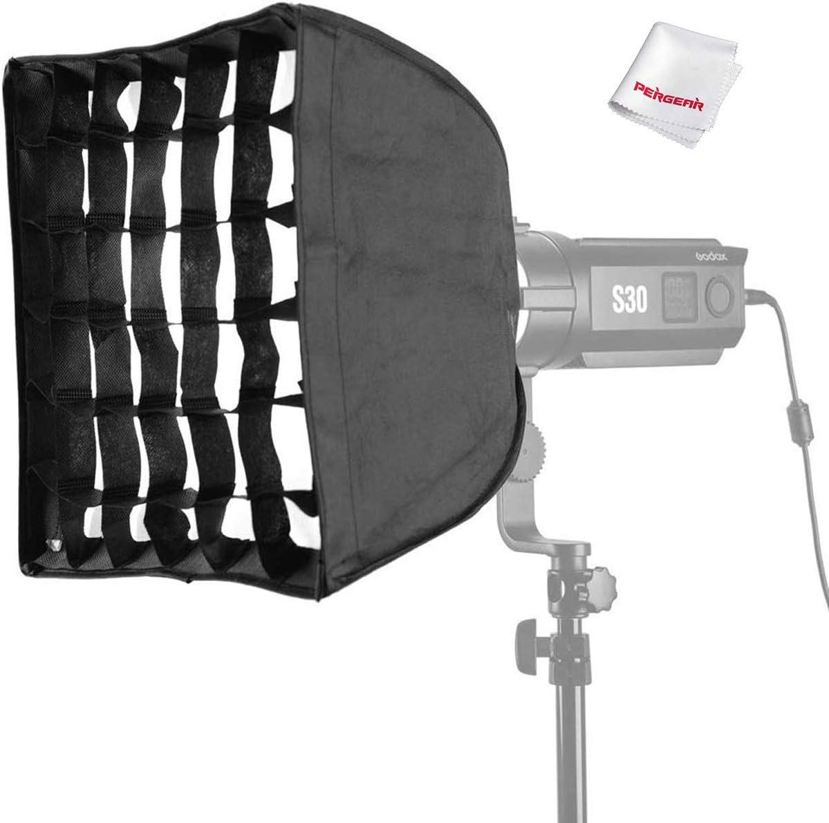 for Godox S30 Focusing LED Video Light W//Pergear Cloth Godox SA-30 Softbox with Grid 30cmX30cm