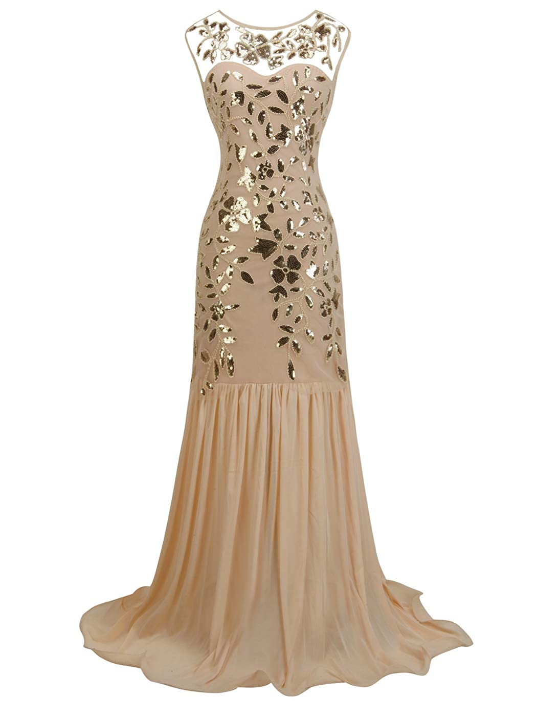 026champagne gold FAIRY COUPLE 1920s FloorLength VBack Sequined Embellished Prom Evening Dress D20S004