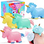 BEESTECH 4 Pack Colorful Unicorn Squishy Stress Balls Toy for Girls,