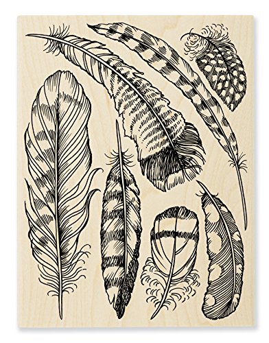 - STAMPENDOUS Wood Rubber Stamp Feathers