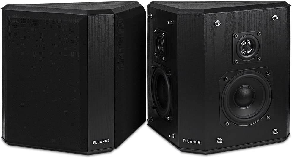 Fluance SXBP2 Home Theater Bipolar Surround Sound Speakers (Black Ash)