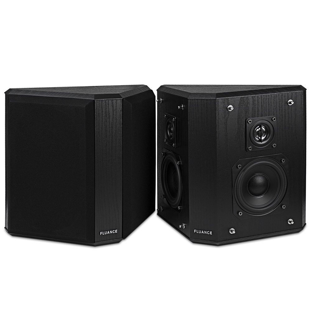 Fluance SXBP2 Home Theater Bipolar Surround Sound Speakers (Black Ash) by Fluance