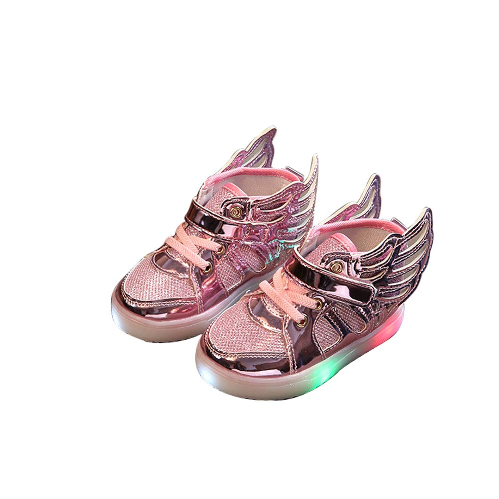 edv0d2v266 Toddler Kids Skate Shoes Children Baby Shoes LED Light up Luminous Sneakers(Pink 31/13 M US Little Kid)