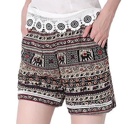 New ezShe Women's Printed Elastic Waist Hot Pants Casual Beach Shorts hot sale