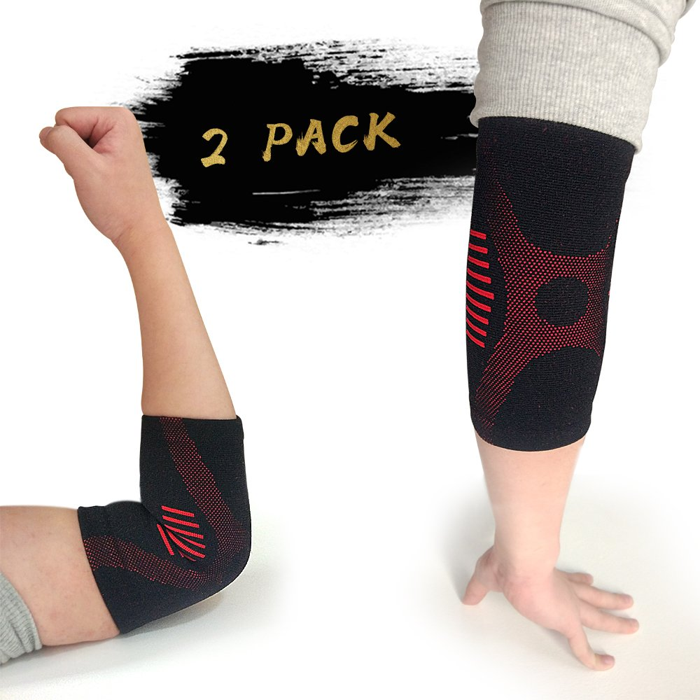 Elbow Brace Compression Support Sleeve with Superior Material & Unique Appearance Design for Tendonitis,Tennis Elbow,Golf Elbow Treatment - Reduce Joint Pain During Any Activity, 1 Pair
