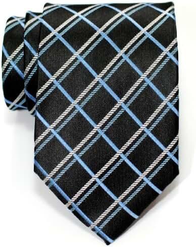 Retreez Elegant Plaid Check Style Woven Men's Tie Necktie - Various Colors
