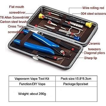 Vape Accessories Kit de herramientas 9 en 1 para cigarrillos electr/ónicos con caja de almacenamiento de cuero