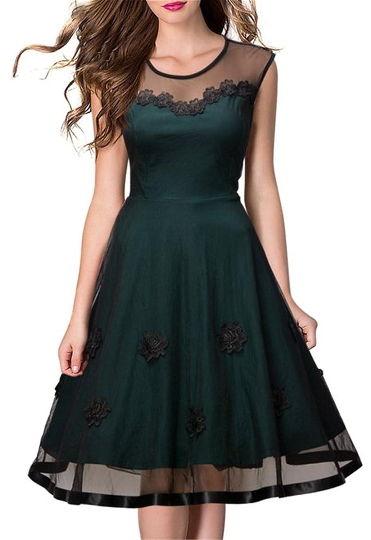 HelloGirls Women's Sleeveless 1950s Vintage Style Patchwork Mesh Casual Dresses