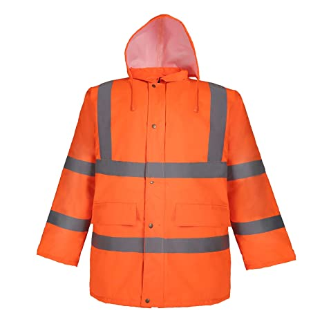 Mens Hi Viz High Visibility Bomber Safety Work Black Hooded Jacket Coat All Size Business & Industrial