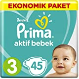 Prima Bebek Bezi Aktif Bebek 3 Beden Midi Ekonomik Paket, 45 Adet