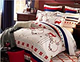 Queen Size Sanding Christmas Deer Boho Style Bedding Set,boho Duvet Cover Set,bohemian Bedding Set 4pcs Bedding Set 100% Cotton Christmas Gift, (Comforter Not Included)