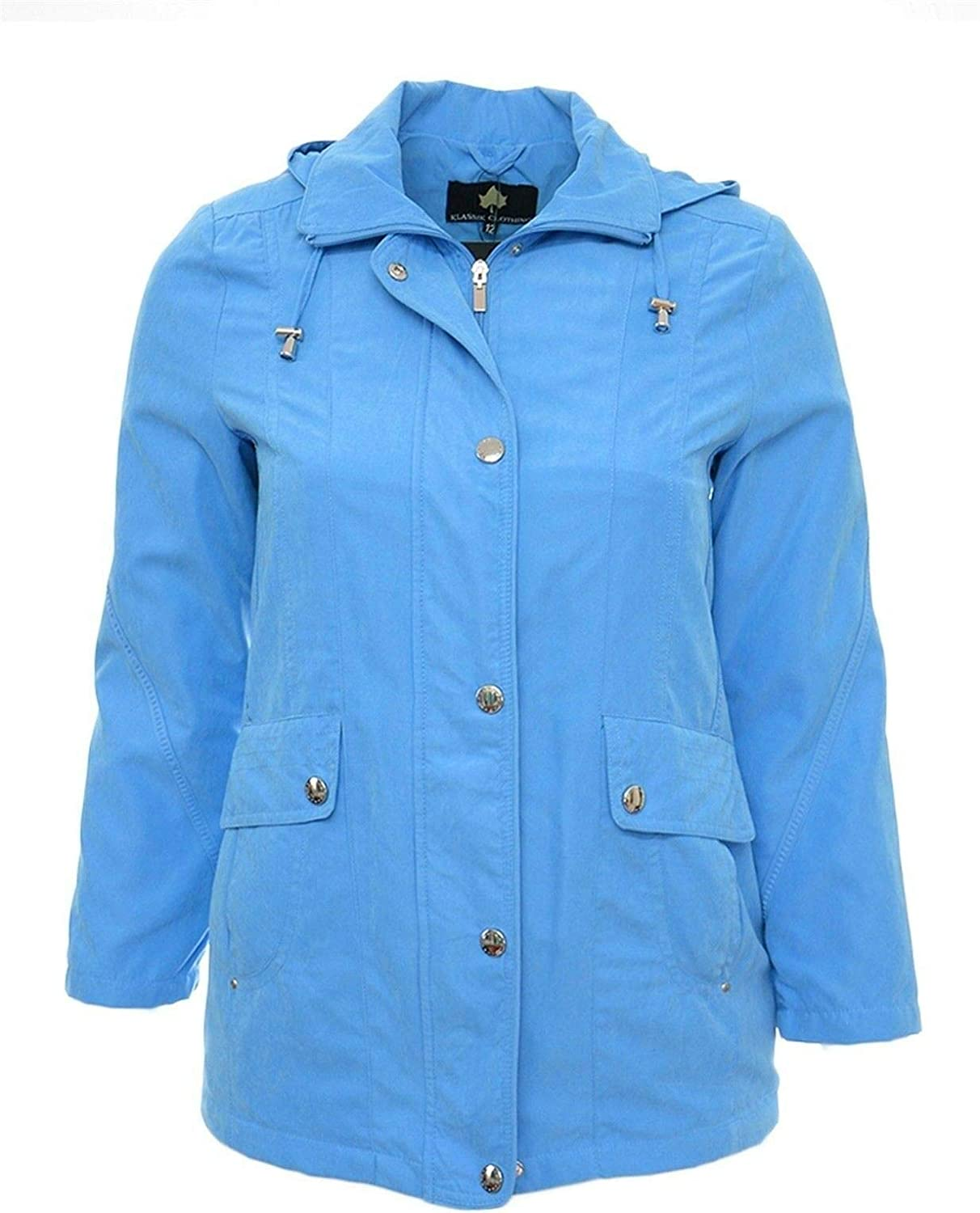 Womens 10-28 Soft Touch Marine Blue Parker Coat Hooded Jacket Ladies Plus Size