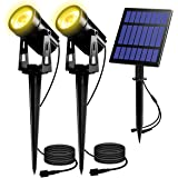 T-SUN LED Outdoor Solar Spot Lights, Landscape Spotlight 3000K Warm White Light, Separated IP65 Waterproof Security…