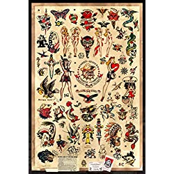 "Sailor Jerry Tattoo Flash (Style B) Poster 24x36"" (60.96 x 91.44 cm)"