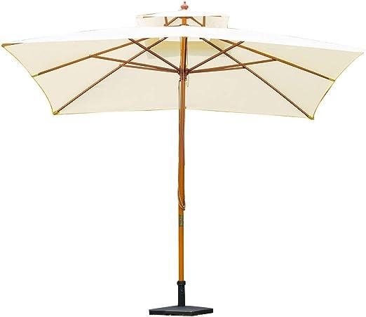 mosoa Sombrilla Parasol de Bambú Madera para Jardín Terraza Patio Playa Doble Techo Rectángulo Mástil de 48mm Crema 3x3m: Amazon.es: Jardín