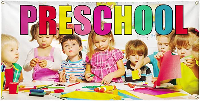 Amazon Com Vinyl Banner Sign Preschool 1 Style A Education Outdoor Marketing Advertising Yellow 36inx90in Multiple Sizes Available 6 Grommets One Banner Office Products