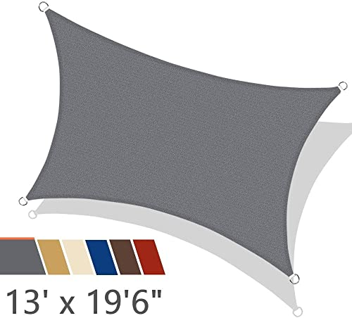 iCOVER Sun Shade Sail 13 x 19 6 Rectangle Canopy, 185GSM Fabric Permeable Pergolas Top Cover, for Outdoor Patio Lawn Garden Backyard Awning, Grey