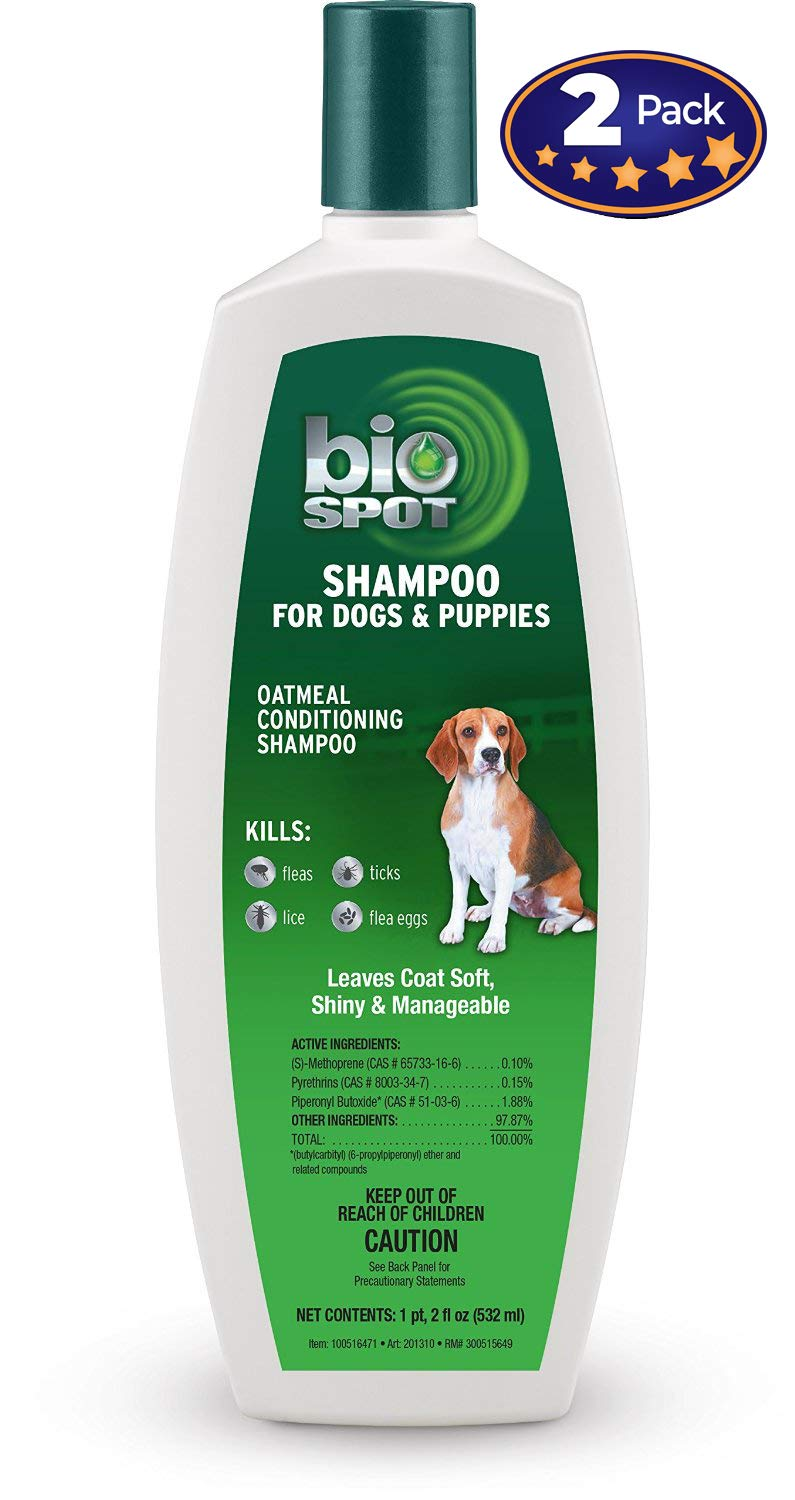 Therapeutic Conditioning Shampoo for Dogs & Puppies with Oatmeal 18oz 2 Pack. Kills Fleas, Ticks, Lice & Eggs. Turns Your Pups Dry, Itchy Skin & Coat Soft, Shiny, Fresh & Manageable!