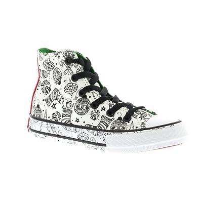 312baf53c21b8b Converse Junior Chuck Taylor All Star High - White Green Siren Red (Textile