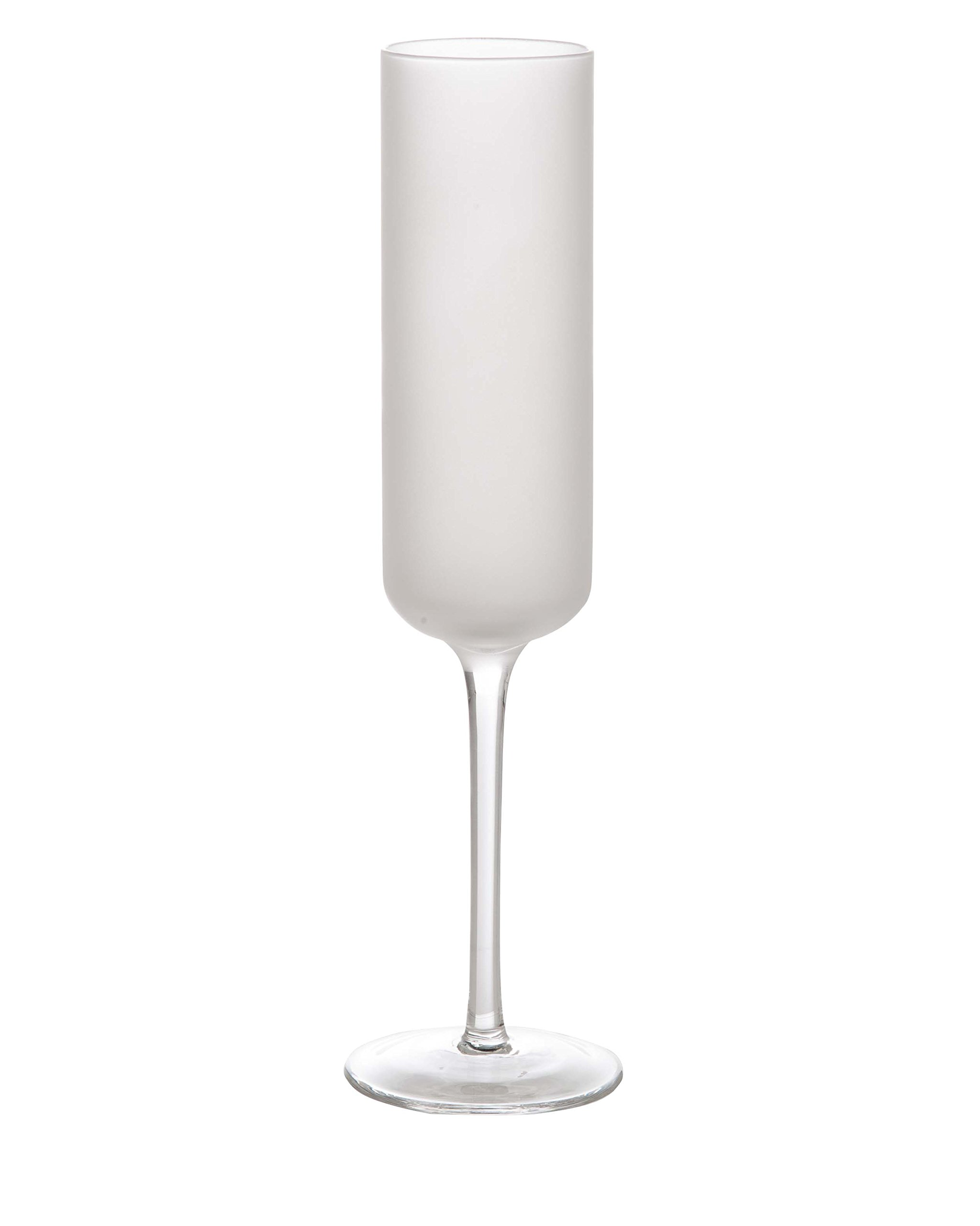 Abigails 726019 Frosted Champagne Glass, Set of 4, White