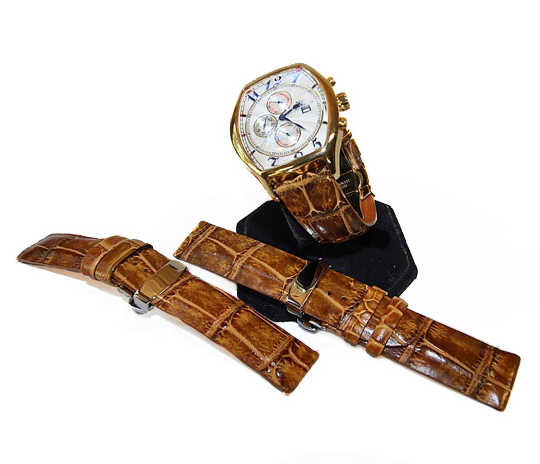 Saddle Tan Alligator Watch Strap Gator and Crocodile Replacement Band Collection by John Woodward(22mm)