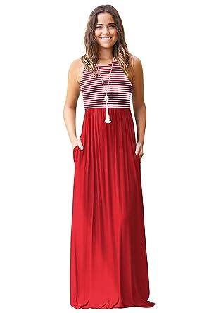 b3e242181d1825 Newaylion Women Sleeveless Stripe Maternity Maxi Dress Racerback Tunic Maxi  Dress Casual T Shirt Maxi Dress