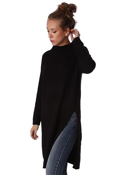Q2 Mujer Jersey largo de punto negro con aberturas laterales - S   Amazon.es  Ropa y accesorios 18f2067f46b2
