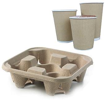 Bandeja de cartón para 4 tazas, biodegradable, bandeja para bebidas frías, 40,