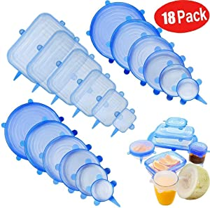 Leaf&cici Silicone Stretch Lids,18 Pack of Various Sizes to Fit Various Size and Shape of Containers,Reusable, Durable and Expandable Food Covers As Seen On TV,Keeping Food Fresh, Dishwasher and Freez