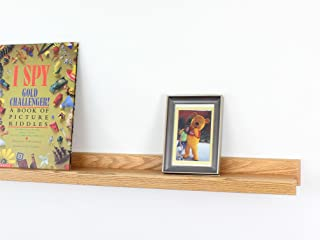 """product image for PegandRail Picture Ledge, Solid Oak Wooden Wall Mounted Photo Frame Shelf, Book Display Ledge 35"""" - Made in The USA (35"""" Long x 4.5"""" Deep -Natural)"""