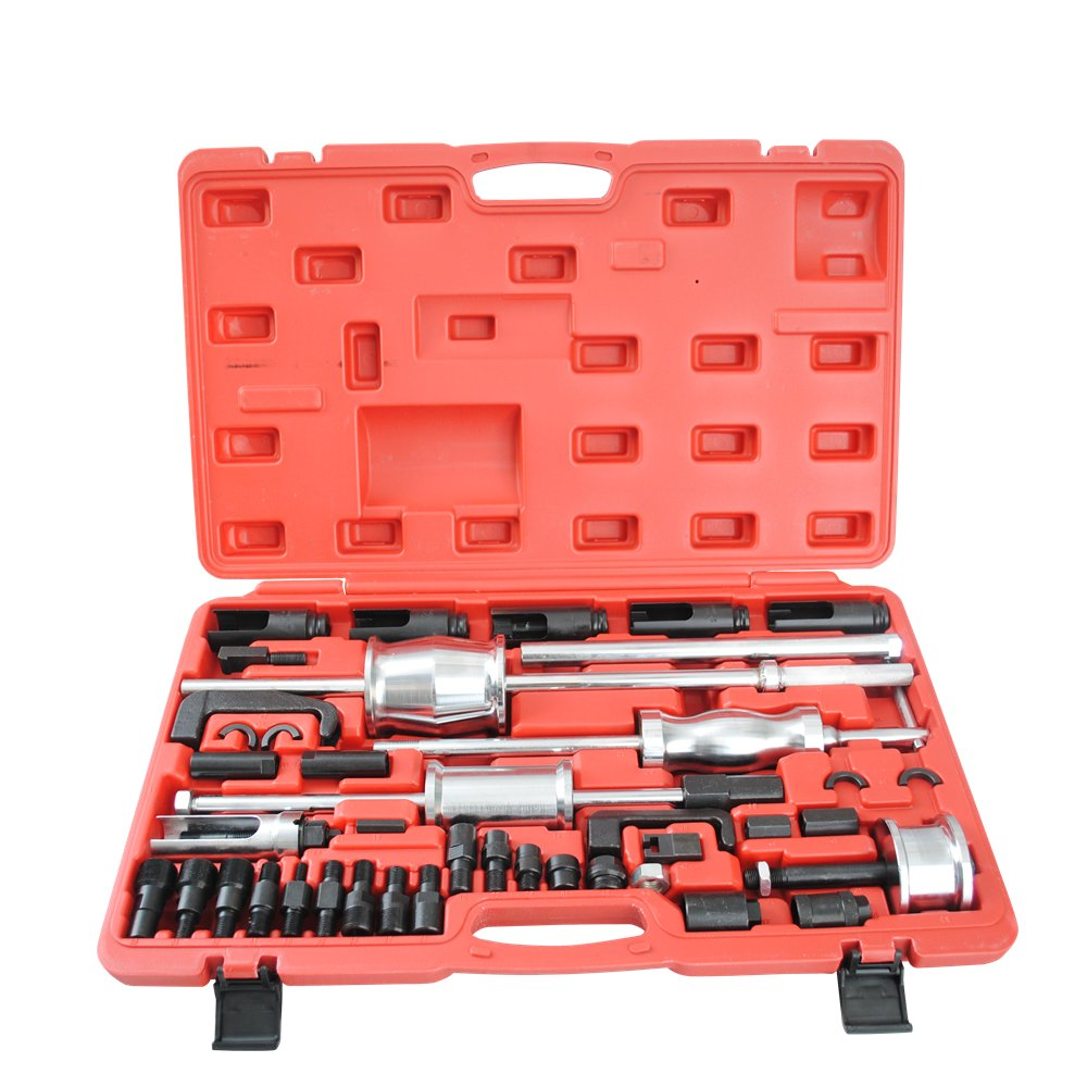 CCLIFE Kit di Estrattori Iniettori Diesel Set (3 Martelli Scorrevoli, Adattatori per Estrazione con Filettatura Esterna/Interna, Cassetta Degli Attrezzi)