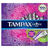 Tampax Radiant Plastic Tampons, Super Absorbency, Unscented, 32 Count - Pack of 6 (192 Total Count)