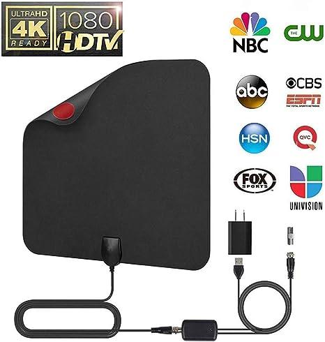 más reciente 2019] HD antena de TV digital, rango de 60 – 120 millas, cable coaxial de