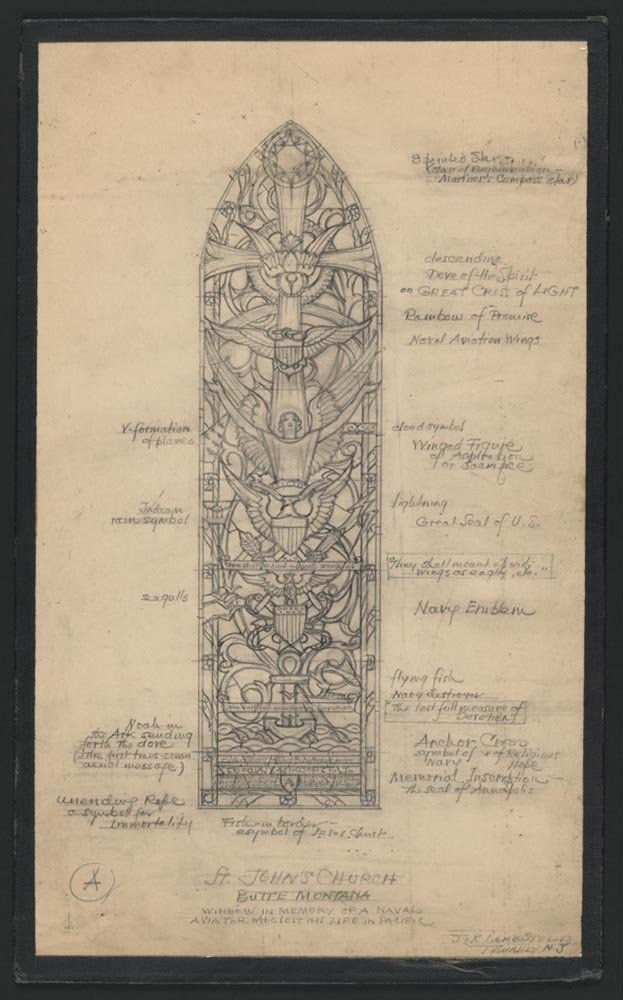 Design drawing for stained glass window In Memory of a Naval Aviator Who Lost his Life in Pacific for St. John's Church in Butte, Montana