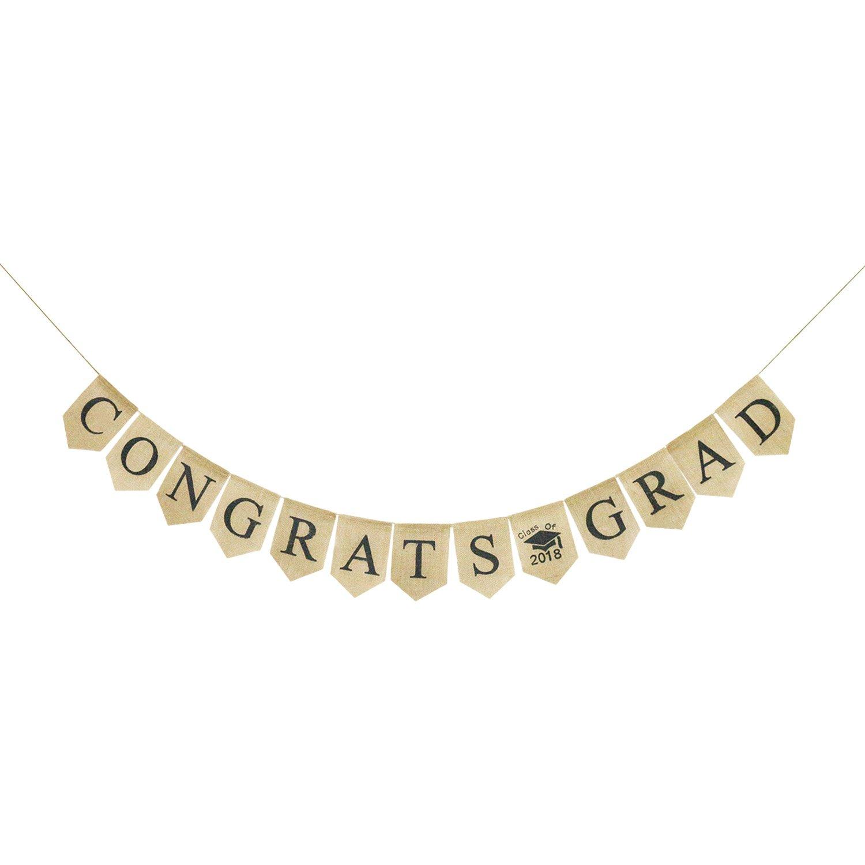 Congrats Grad Burlap Banner | Rustic 2018 Graduation Party Decorations | Class of 2018 Grad Bunting Garland | Graduation Photo Props Backdrop