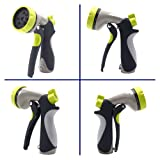 MAXFLO Garden Hose Nozzle Spray Nozzle, Metal Water Nozzle with Heavy Duty 8 Adjustable Watering Patterns, Slip and Shock Resistant for Watering Plants, Cleaning, Car Wash and Showering Pets-Green