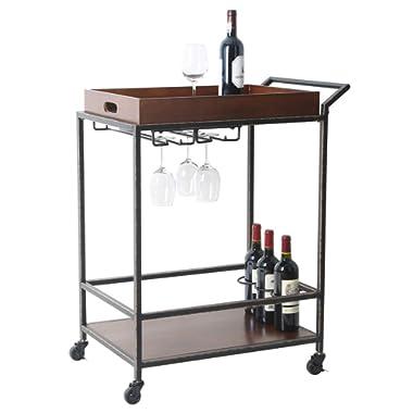 2 Tier Kitchen Bar Serving Cart - Rolling Utility Storage Bar Cart with Bottle Holder, Solid Wood, Brown