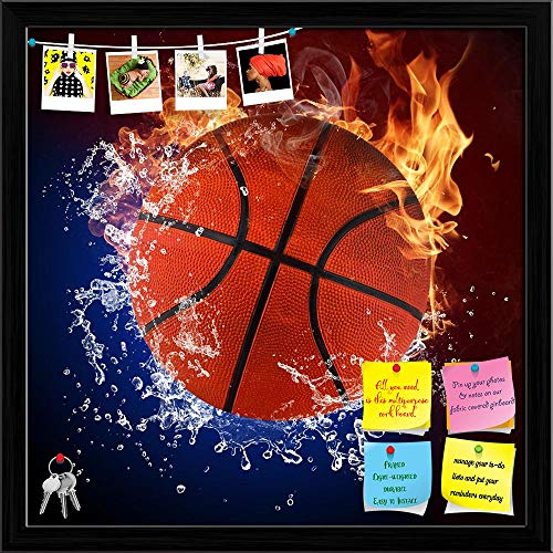 Artzfolio Basketball Ball in Fire Flames & Splashing Water Printed Bulletin Board Notice Pin Board | Black Frame 12 X 12Inch -