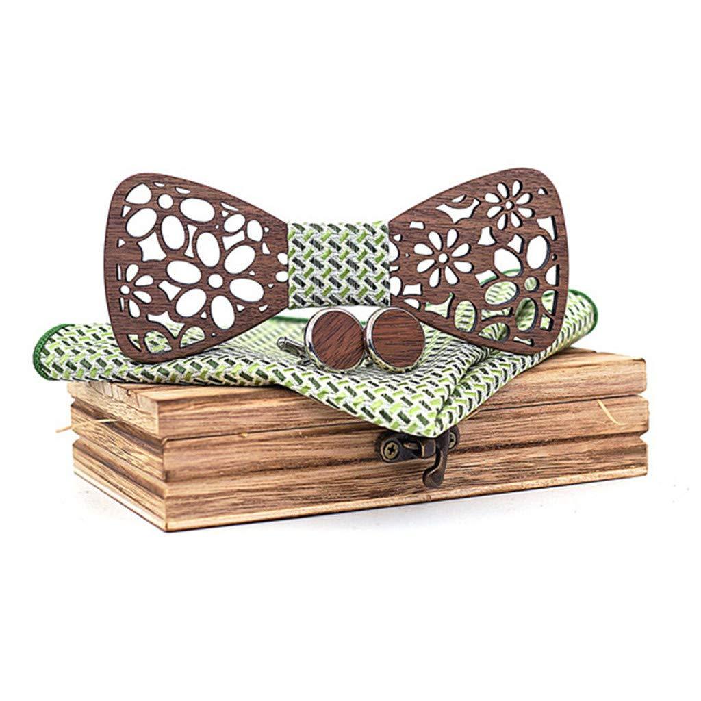 CUEYU Pajarita de Madera Hecha a Mano,Pajarita de madera maciza hecha a mano Conjunto de pajarita de tendencia europea y americana