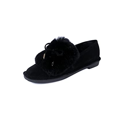 Dwarves Handmade Warm Rabbit'S Hair Soft Leather Winter Flats Black/Gray/Camel