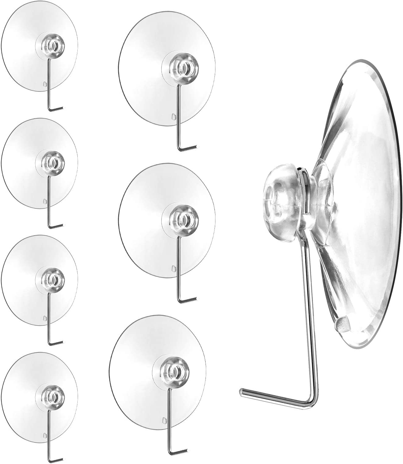 Mudder 24 Pieces Bathroom Kitchen Suction Cup Wall Hooks Hangers (30 mm/45 mm/63 mm, Metal Hook)