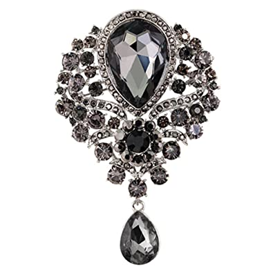 37eb88d30bc dds5391 Wedding Bridal Bouquet Clear Crystal Rhinestone Teardrop Dangle  Brooch Pin - Grey