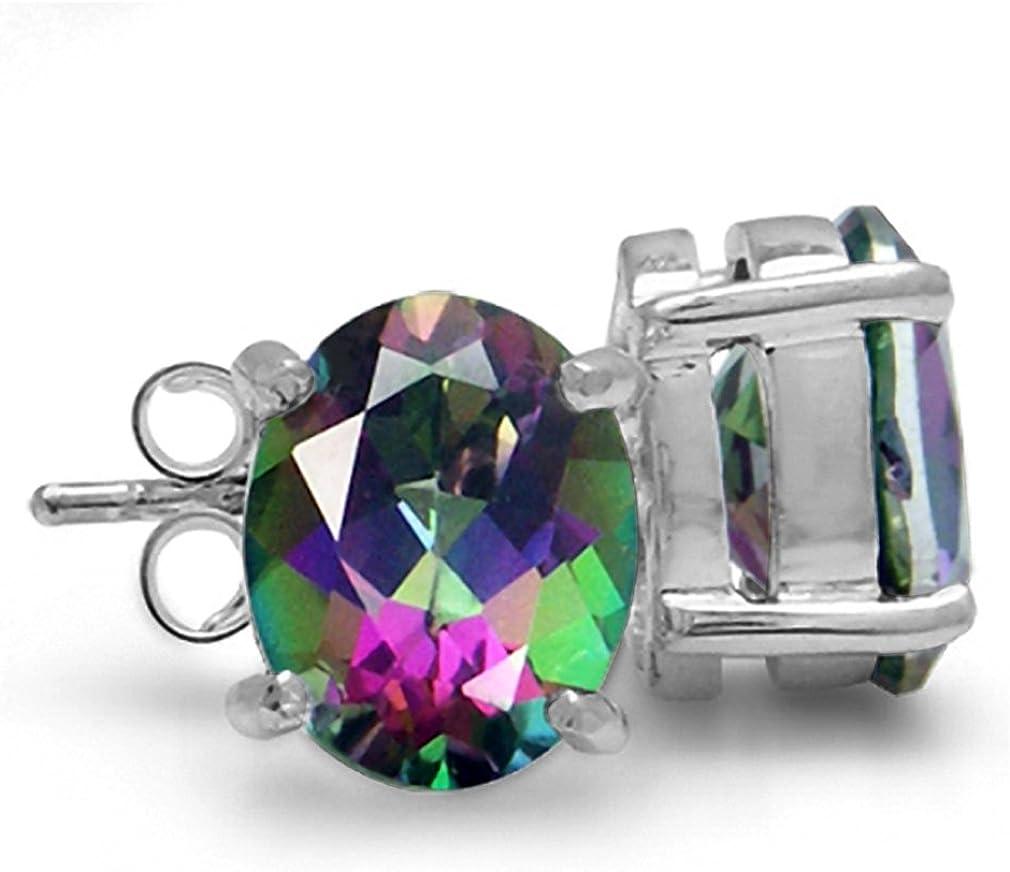 925 Silver Round Cut Mystic Rainbow Fire Topaz Stud Earrings Jewelry Gift