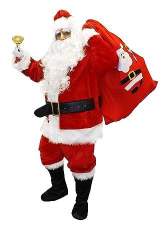 Plus Size Christmas Costumes.Deluxe Santa Costume Father Christmas Suit Fancy Dress Costume 12 Piece Velour Quality Plus Size Santa Claus Mens St Nick Plush Xmas Outfit Size