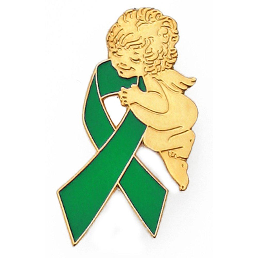 PinMart Green Awareness Ribbon Religious Spiritual Angel Enamel Lapel Pin