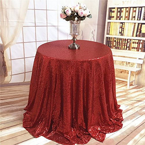 TRLYC Christmas Round Red Sequin Tablecloth for Wedding Part