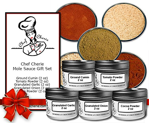 Chef Cherie's Mole Sauce Spice Gift Set-Contains 5 2 oz. Tins
