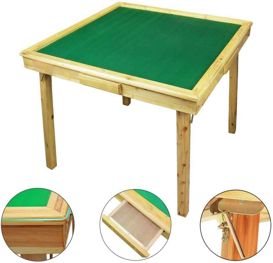 "W Store 35"" Mahjong Portable Folding Game Square Large Automatic Wooden Poker Table"